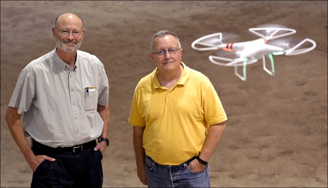 Bill Allen (left) and Rick Shaw (right) are co-directors for the Missouri Drone Journalism program at the Missouri School of Journalism. Friday, Sept. 11, 2015